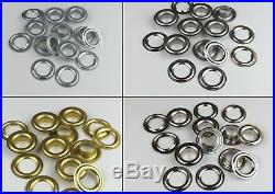 1000x Oeillets Din 7332,10mm, Laiton, Acier, Inox, Bache, Banner, Cuir, Bottes
