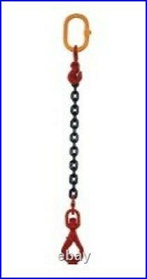 1m Élingue chaîne 1 brin grade 80 Crochet émerillon automatique
