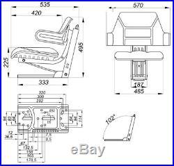 56001 Siège de tracteur OE102 Accoudoir et Dossier Suspension
