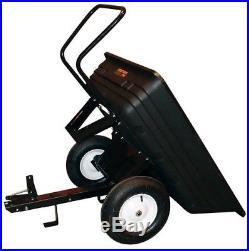 Remorque basculante pour tracteur tondeuse auto-portée 250kg caisse polyéthylène
