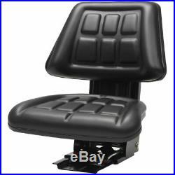 Siège de Tracteur avec Suspension Noir PVC Durable Réglage K8C5