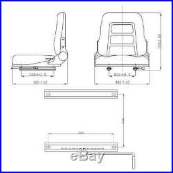 Siège de Tracteur et de Chariot Élévateur Dossier Réglable Noir 48 x 48 x 50 cm