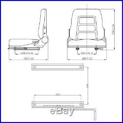Siège de tracteur et de chariot élévateur Dossier réglable Noir R9K2