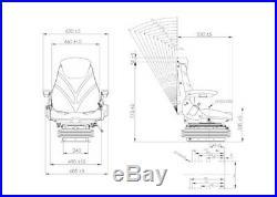Universel Siège de Tissu Air-Sprung Réglable 12v Tracteur Luftsitz