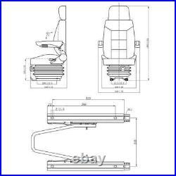 VidaXL Siège de tracteur avec accoudoir et appuie-tête imperméable suspension